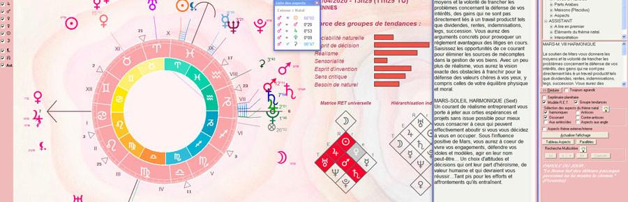Nos logiciels d'astrologie proposes des habillages graphiques harmonieux et personnalisables